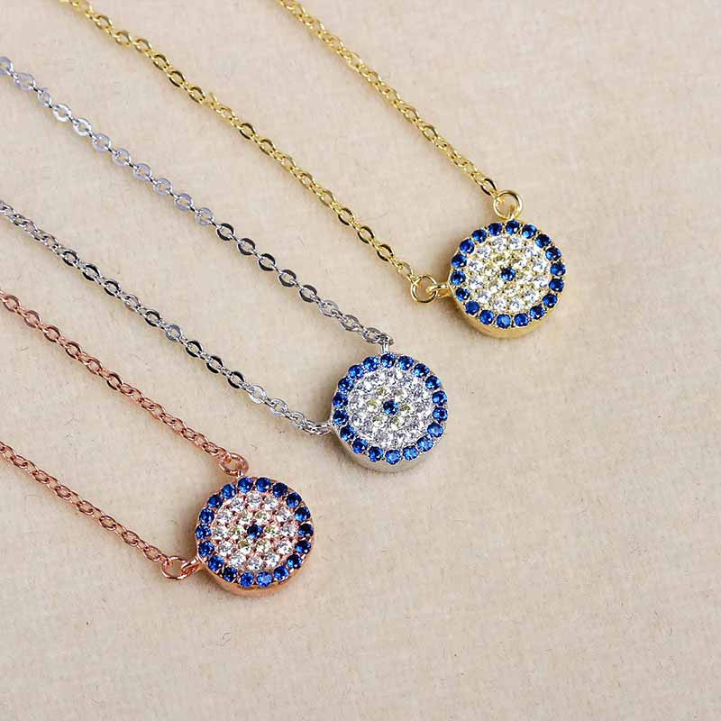 Brass Round Necklaces AAA Zirconia For Woman Chain Jewelry