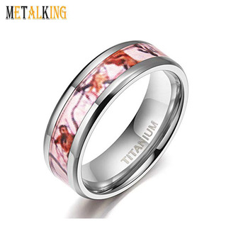 Mens Womens Anium Wedding Rings Pink Camouflage Inlay Comfort Fit 8mm6mm