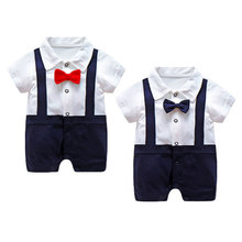 Toddlers Boys Short Sleeve Gentleman Baby Outfit Suit with Bowtie Infant Overalls Clothing