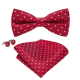 Top Quality Bowtie Red White Men Tie Dots Hand Woven Hanky Cufflinks Krawatte Legame