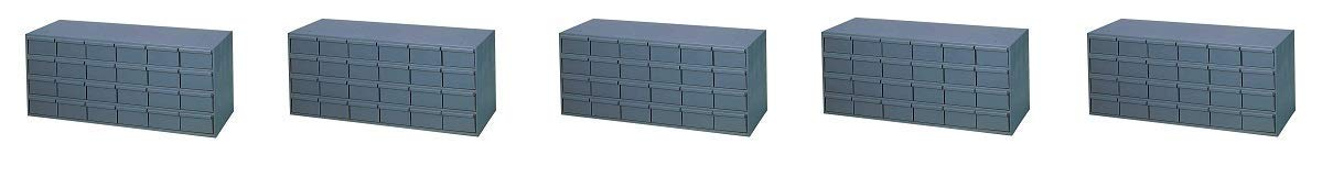 "Durham 007-95 Gray Cold Rolled Steel Storage Cabinet, 33-3/4"" Width x 14-3/8"" Height x 11-5/8"" Depth, 24 Drawer (5-(Pack))"