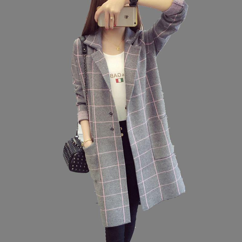 Women Medium long Sweater Coat 2016 Autumn font b Winter b font New Female Cardigan Jacket
