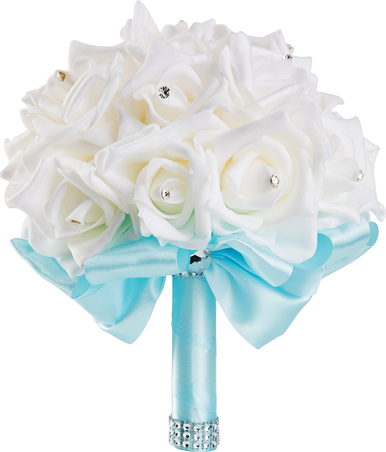 Buy Handmade Wedding Bouquet With White Flowers And Light Blue