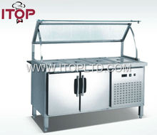 with glass top kitchen refrigerated bain marie