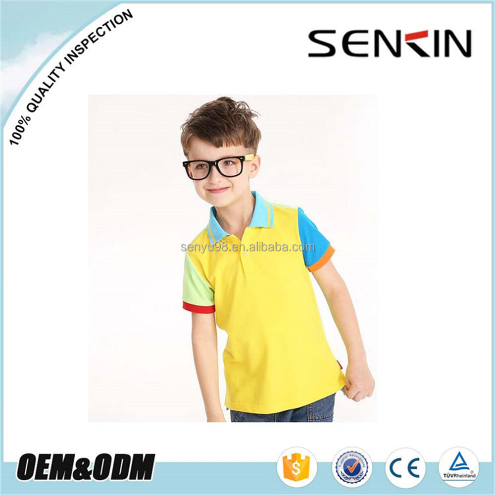 Yellow Polo with Blue Collar New Design Boys Polo T Shirt different color combination Kids Sport Polo Shirt OEM