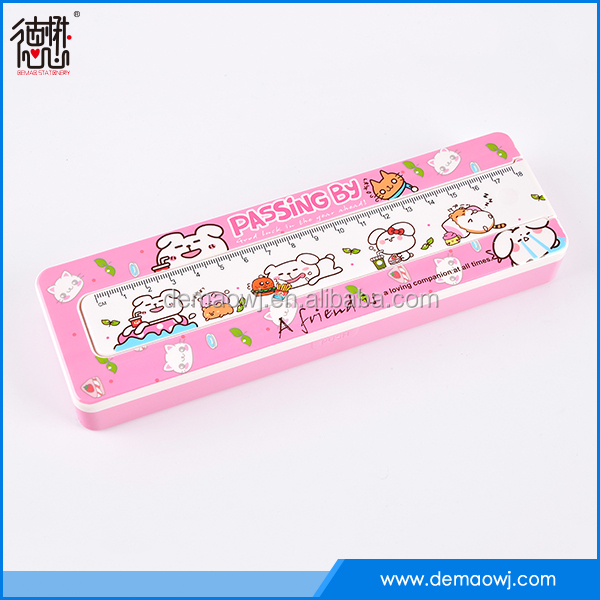 China factory wholesale stationery things cuboid shape hard plastic pencil case with ruler with cheaper price good quality S029