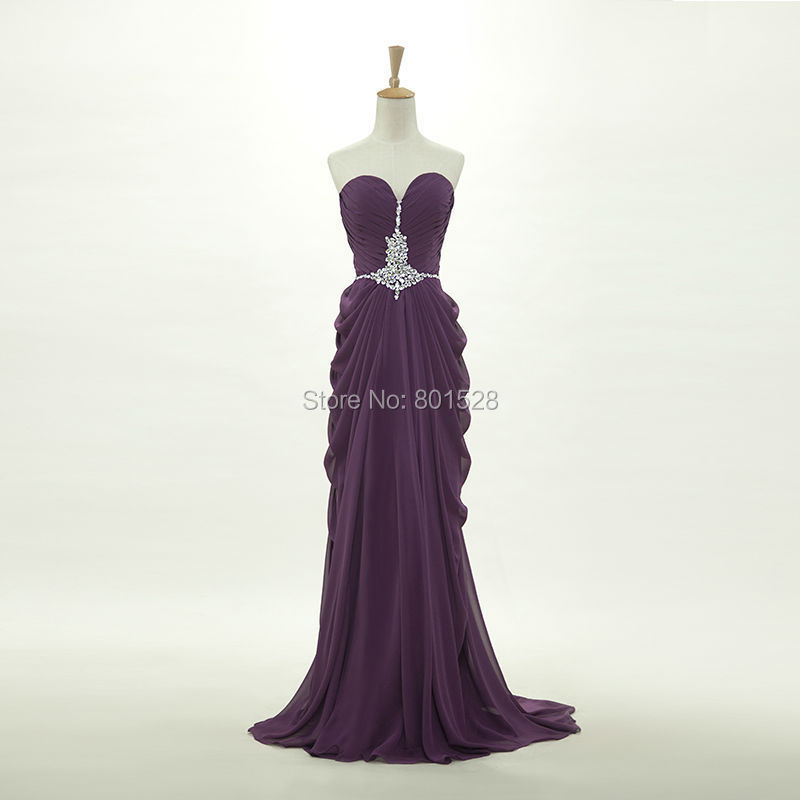 Elegant Sweetheart Cheap Chiffon Purple Long Prom Dresses 2015 New Formal Evening Party Dress Gown Fashion Custom