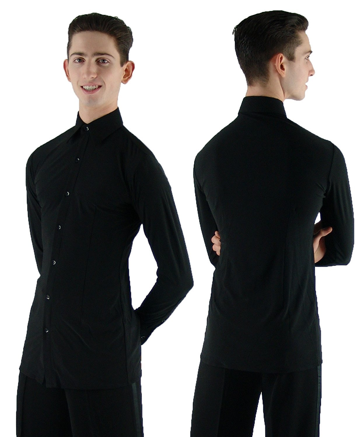 0343e051 Get Quotations · MS962 Black Mens Ballroom Smooth Rhythm Latin Dance Shirt