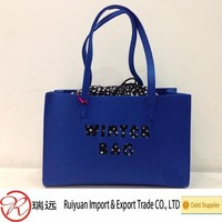2015 new design!!! Royal-Blue Felt women tote bag ideal for promotional gifts