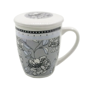 Eco ware white ceramic tea drinking mug with decal