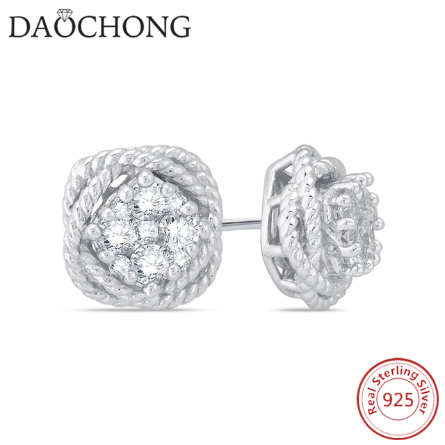 c937682ec 925 sterling silver pricess cut cubic zirconia halo stud earrings