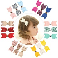 New product Spring pink sparkle hair accessories set glitter hair clips gift set with mini leather hair bow for baby girl