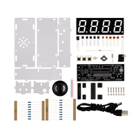 Red 4-Digit DIY LED Electronic Clock Kit Microcontroller Digital Tube Clock with Thermometer Hourly Chime Function DIY Kit