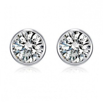 Zirconia crystal micro pave round earrings 925 sterling silver unisex jewelry