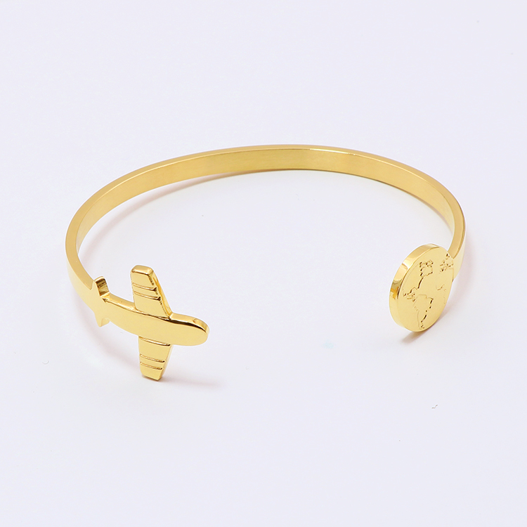 popular style stainless steel 18k gold plated bracelet custom new fashion design airplane with coin map cuff bangle bracelet
