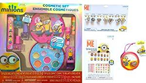 Minions Children's Cosmetic Set Includes Lip Gloss, Lip gloss Compact, Lip Balms, Nail Polishes Non toxic, Minions Week Sticker Earrings and Ring Set, Decorative Nail Art 65 Pieces, Mini Jewelry Set