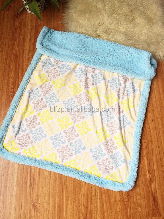 fashion plush fleece wrap baby receiving blanket