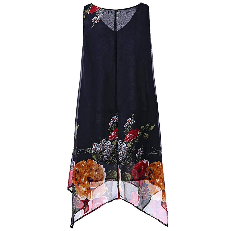 Nmch Women Summer Boho Print Loose Dress Sleveless Tank Beach Vintage Short Mini Dress