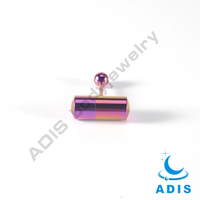 Purple anodized titanium plated vibrating non piercing tongue ring