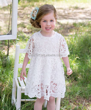 a8c397c45 Fashion Children Girl Lace Rosette Crochet Flower Dress with Soft Cotton  Lining Accept OEM Labeling