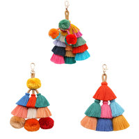 Tassel key chain Tassel bag key chain multi colors tassel fringe handbag charm