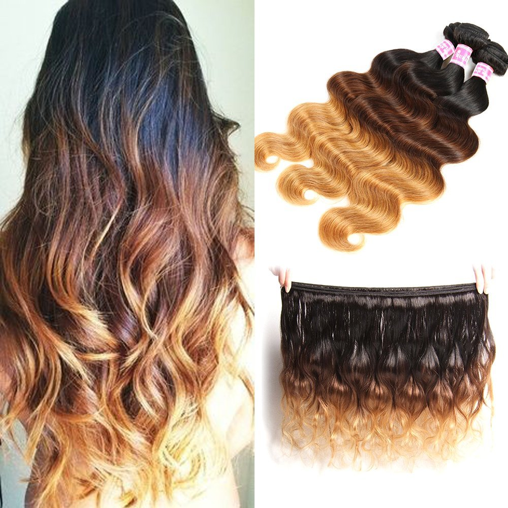 "Sunwell Body Wave #1b/#4/#27 Three Tone Ombre Human Hair Weave 7A Brazilian Virgin Hair Extensions 3 Bundles (20"" 22"" 24"")"