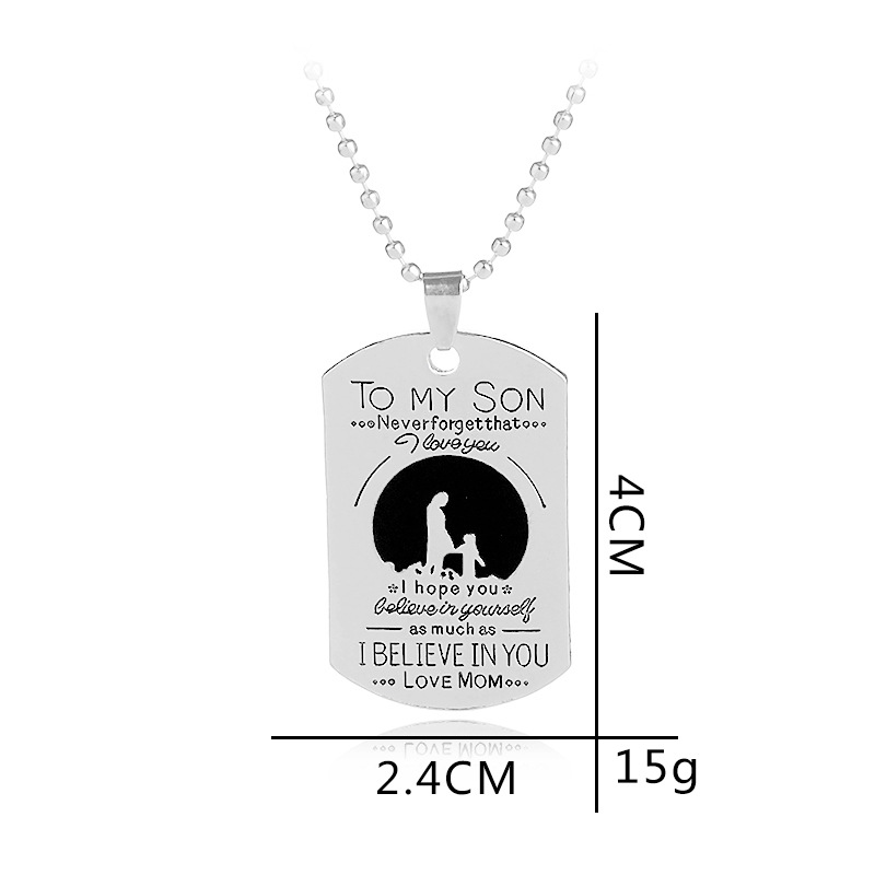 To My Son Family Necklace Silver Plated Dog Tag Shape Letter Engraved Christmas Gift Inspiration Pendant Necklace