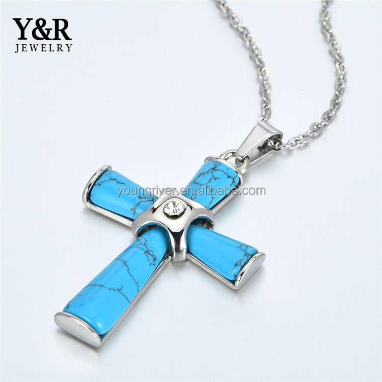 Turkey Steel Stone Necklace Jewelries Religious Letter Pendant