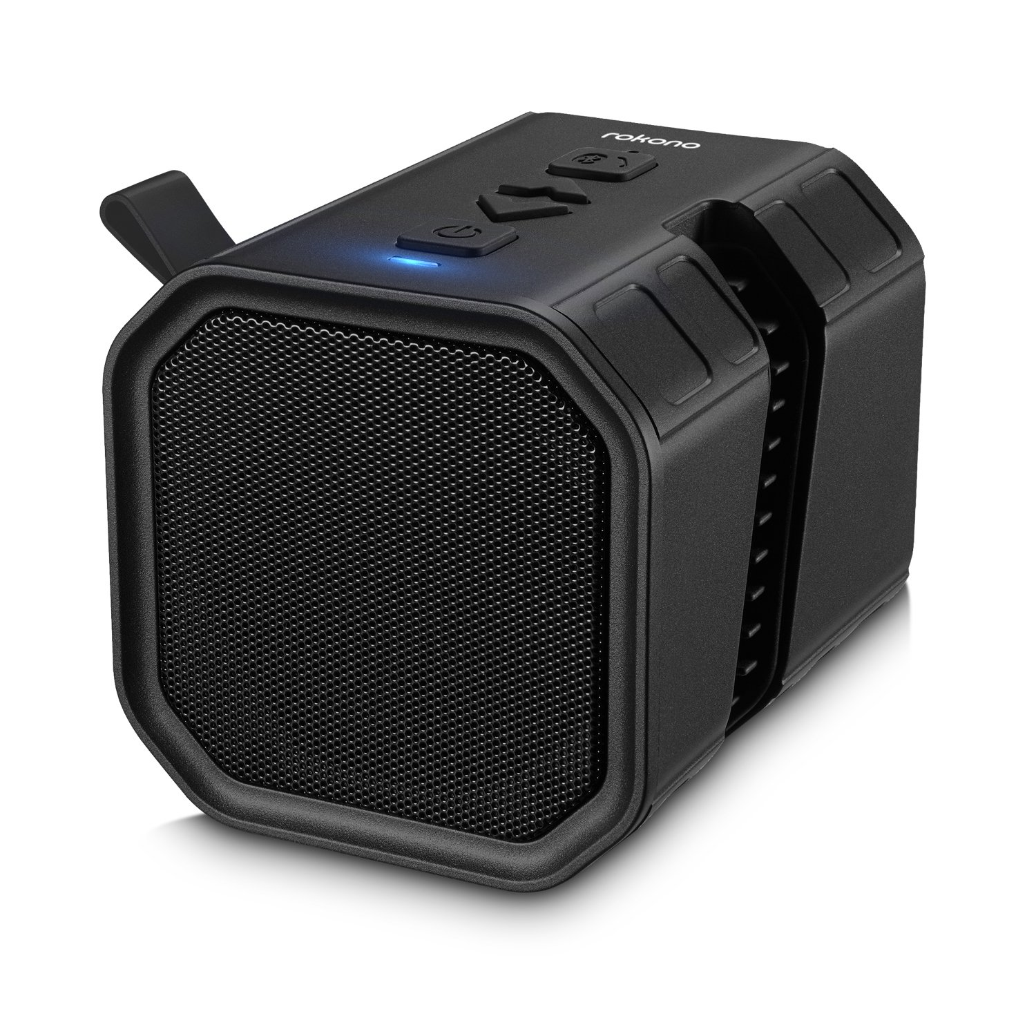 Rokono BASS+ (Sidewinder) Bluetooth Speaker with Cell Phone Holder Grip for iPhone/Samsung - Black