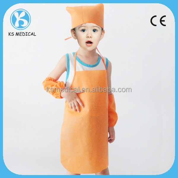 Kids Apron For Painting Set Disposable Kids Chef Hat And Apron ...