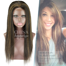 Natural Hairline Top Quality 18 Inch Silky Straight Full Lace Mohawk Wig