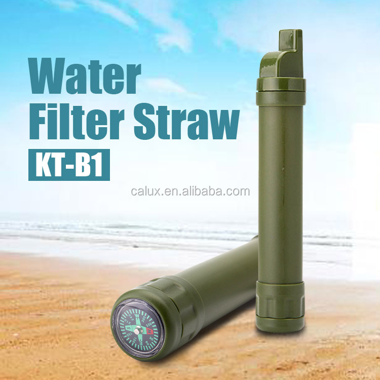 Personal Water Filter + Survival Multi- Tool - Includes Emergency Whistle, Compass and Mirror - Great for Hiking, Hunting