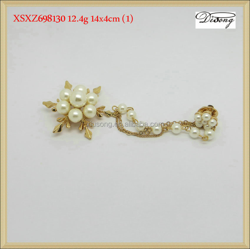 XSXZ698130 snowflake pearl brooch with chain