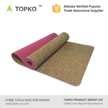 2016 TOPKO Wholesale New Product Eco Friendly Premium Natural Cork/TPE yoga mat