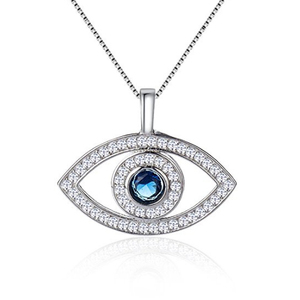 Women Jewellery 925 Sterling Silver Cubic Zircon CZ Evil Eye Pendent