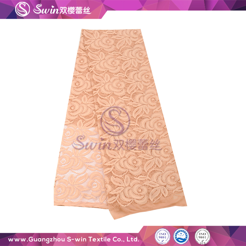 Super Thin Colorful Nylon Spandex Made Flower Knitting Mesh Swiss Voile jacquard pattern african lace fabric peach