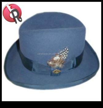 c34e4514db3 Men Blue Wool Homburg Hat M L Xl   Satin Lined Godfather Fedora ...