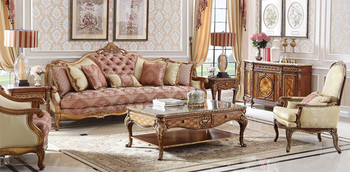 Luxury Clic Style Furniture Living Room Sofa Set Antique Carved Wooden Sets Queen