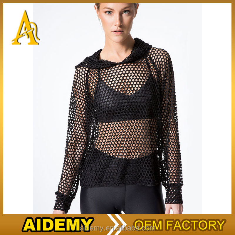 women's sexy clothing mesh t shirt summer hoodies for women