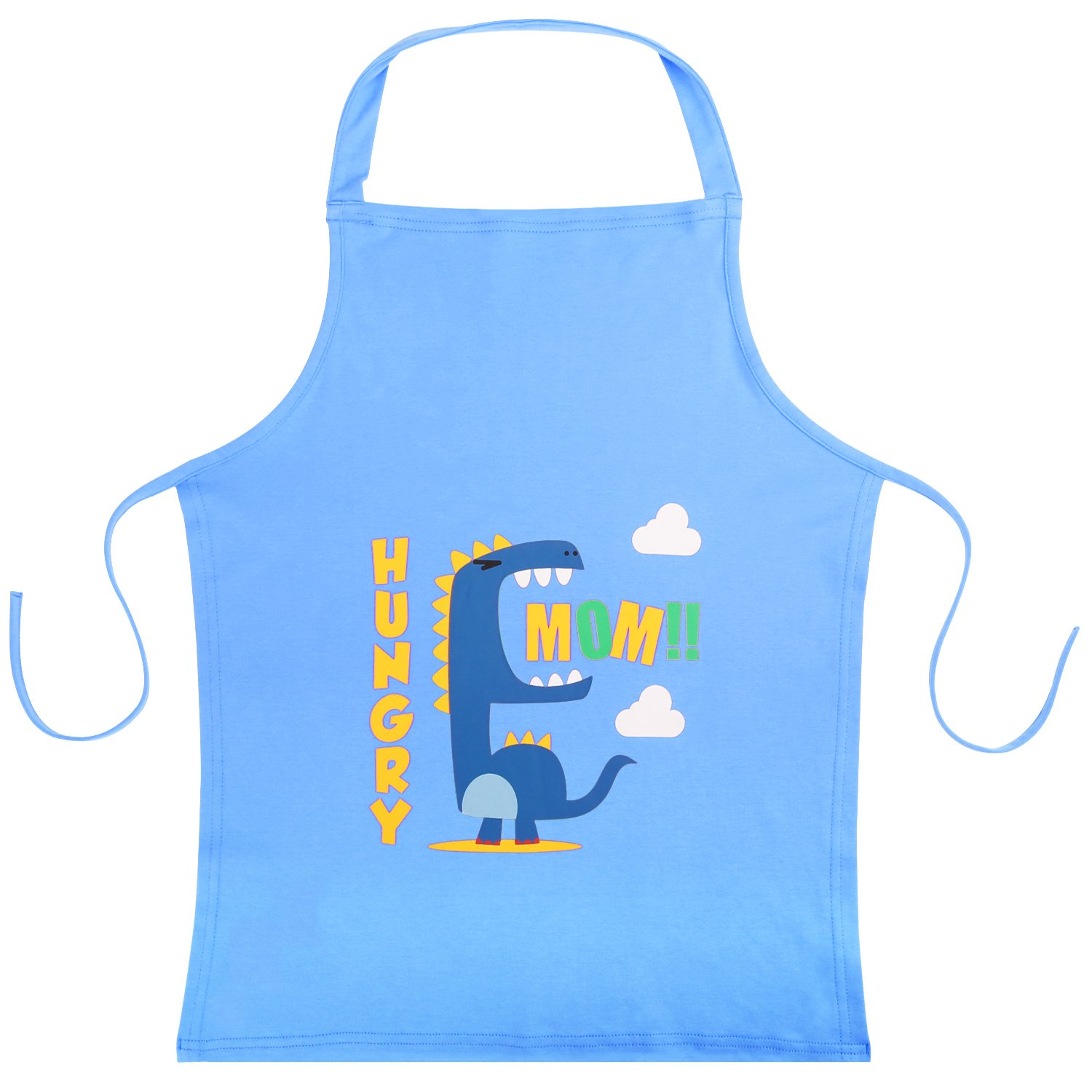"Nuovoware Kids Apron, Cute Cartoon Cotton Child Smock Reusable Small Apron 22"" x 18"" for Cooking, Painting, Crafts and Classroom - Blue"