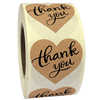 Hot Sale 1.5'' Heart Shape Kraft Paper Thank You Adhesive Labels Sticker
