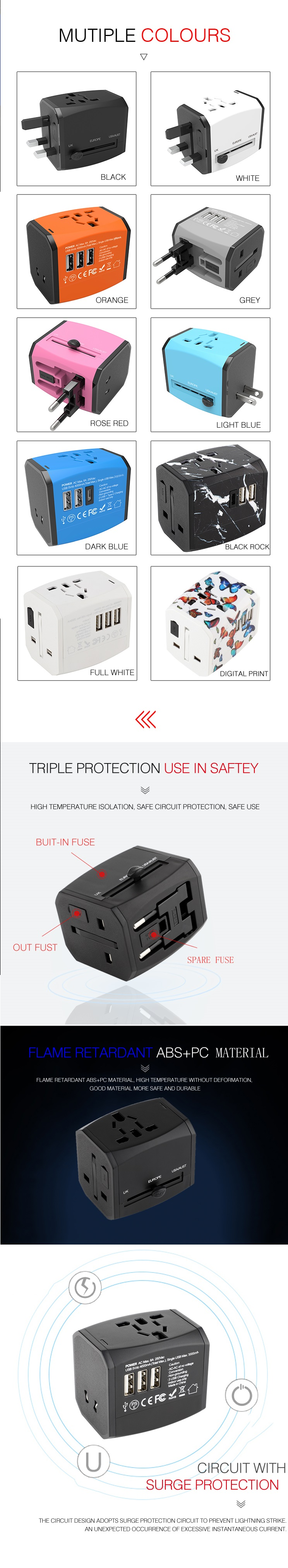 BS8546 certificated universal travel adapter with 3 usb ports with QC3.0 quick charge power adapter
