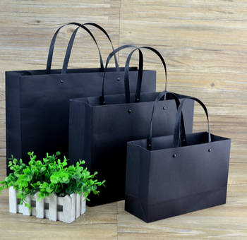 Custom Print Black White And Brown Kraft Paper Bag With Handle Your