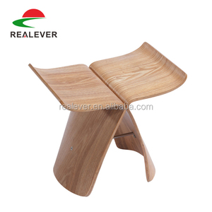 Fancy design modern solid bentwood small butterfly wood stool