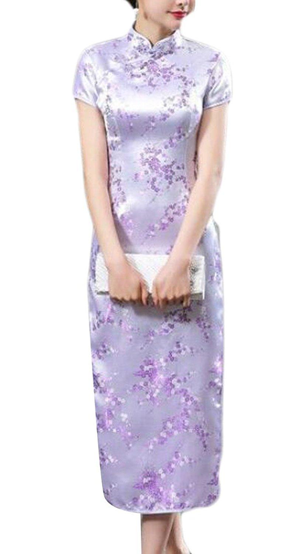 KLJR-Women VTG Navy Blue Keyhole Long Cheongsam Chinese Dress