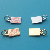 High polishing gold/silver/Rose Gold Plated Base Custom Metal Rectangle Bars/Tags pendants charms with jump ring