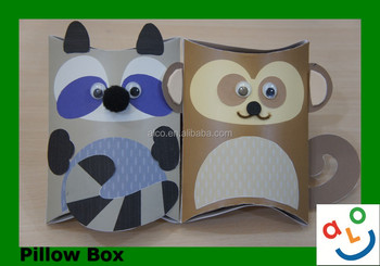 Beautiful Racoon Design Pillow Box Paper Craft Projects For Kids