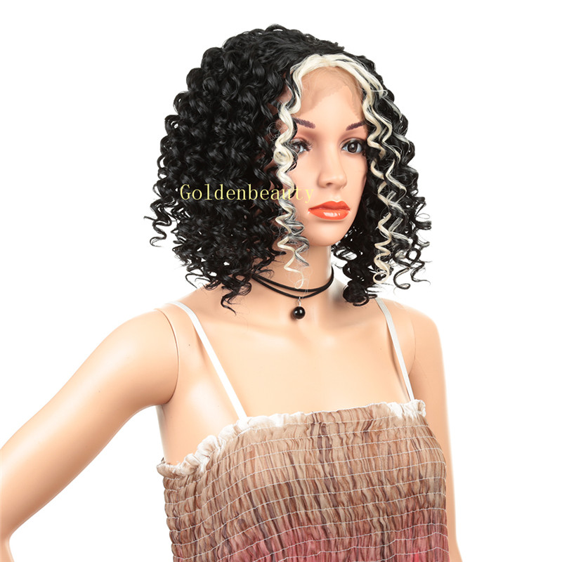 Lace Front Heat Resistant <strong>Synthetic</strong> <strong>Wigs</strong> Cosplay Lace Front <strong>wig</strong> Curly Wavy
