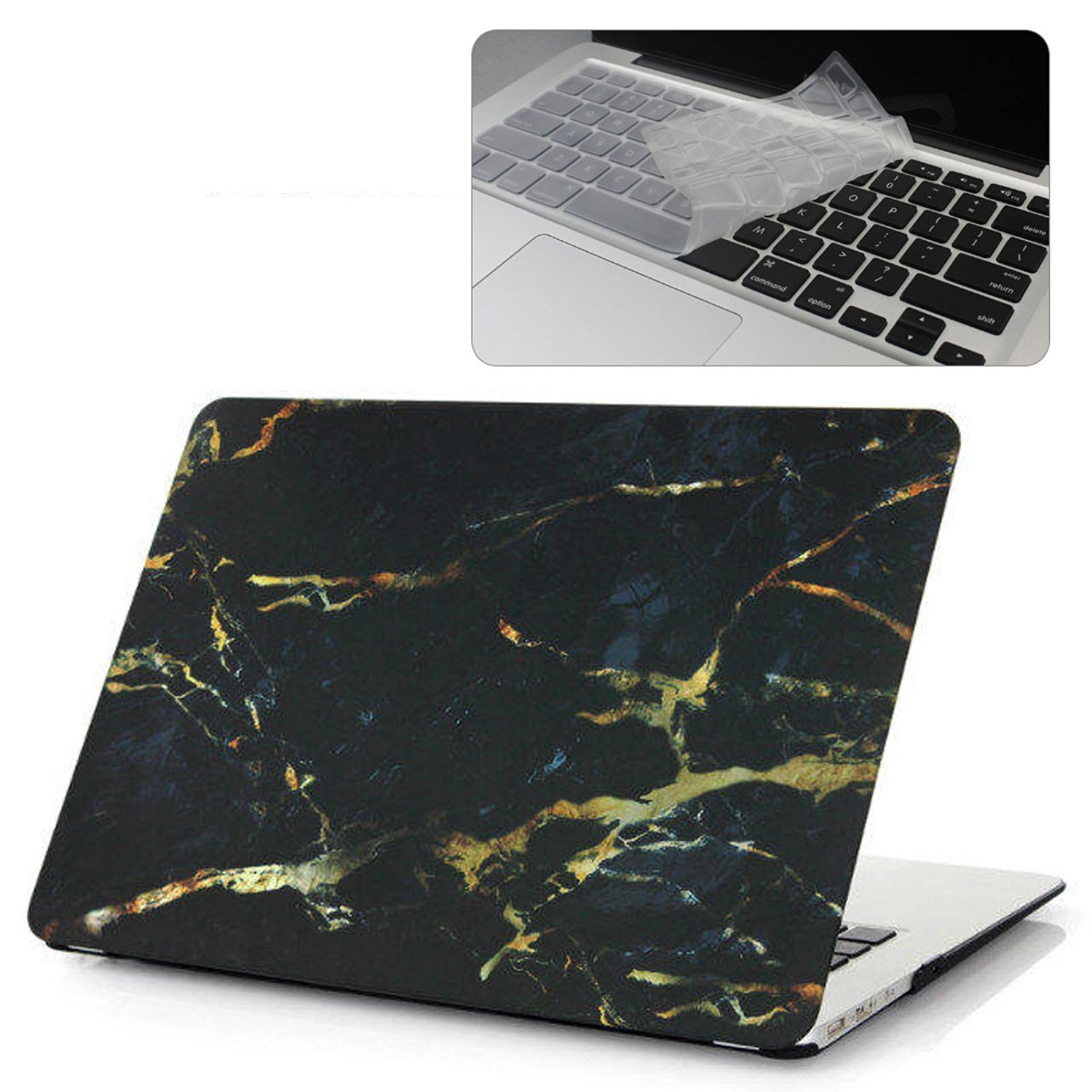 """EWC 2in1 Print Frosted Rubberized Laptop Hard Case Cover and Clear Keyboard Skin for MacBook Pro 13""""13.3"""" inch with CD-ROM (NON Retina Display) A1278 - Black/Gold Marble Pattern"""