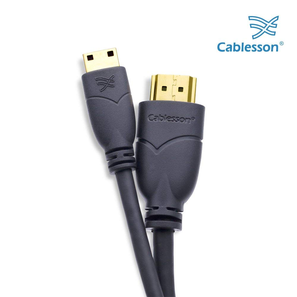 Cablesson Basic High Speed Mini HDMI to HDMI Cable with Ethernet 4 ft/ 1.5m (Type C) compatible with HDMI 2.1, 2.0a, 2.0, 1.4a - 4k, Ultra HD, ARC, HDR, 2160p - Black